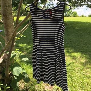 👗🆕 Red Camel Navy Blue and White Striped Dress